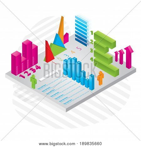Modern Business Infographics with many colorful Diagrams consisting of different sectors vector illustration