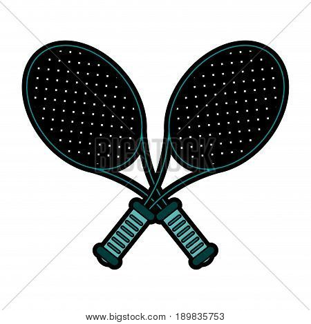 crossed racquets tennis related icon image vector illustration design