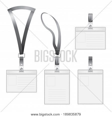 Modern Flat Icons Set with four id holder of different sizes vector illustration