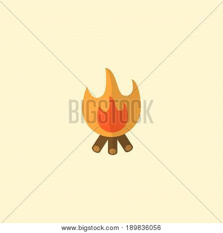 Flat Bonfire Element. Vector Illustration Of Flat Fire Isolated On Clean Background. Can Be Used As Bonfire, Fire And Balefire Symbols.