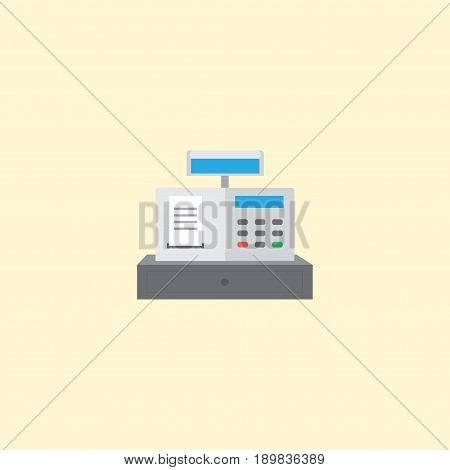 Flat Cash Register Element. Vector Illustration Of Flat Till Isolated On Clean Background. Can Be Used As Till, Cash And Register Symbols.