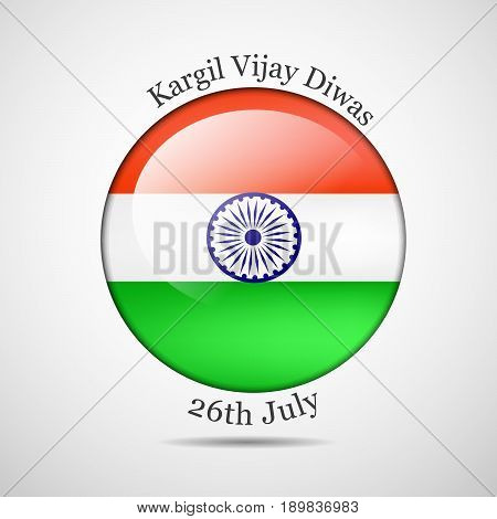illustration of button in India flag background with kargil vijay diwas text