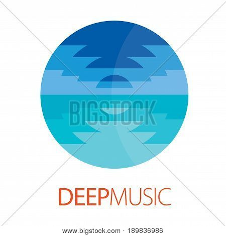 Deep Music Logo Poster with image of web sea waves for design vector illustration