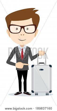 businessman holding modern suitcase with wheels. Flat style. Stock vector illustration for poster, greeting card, website, ad, business presentation, advertisement design.
