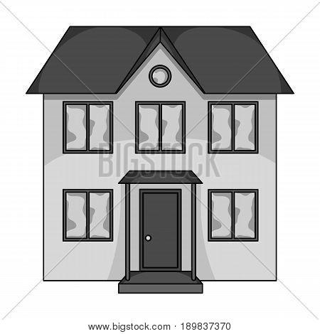 Private cottage.Realtor single icon in monochrome style vector symbol stock illustration .