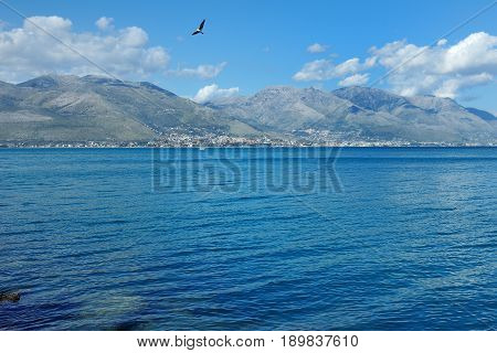 Gaeta Lazio Italy - beautiful view of the blue sea and the hills