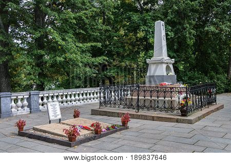Pushkinskiye Gory Russia - September 09 2015: Tomb of famous Russian poet A.S. Pushkin and his parents in the Holy Dormition Monastery
