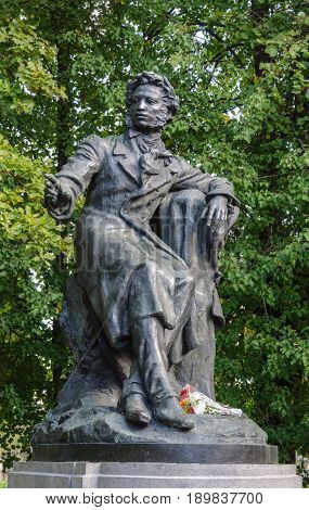 Pushkinskiye Gory Russia - September 09 2015: Monument to Alexander Pushkin - famous russian poet