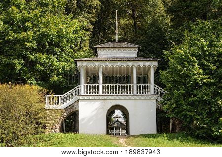 Gazebo in the park of Petrovskoe village. State Museum-reserve of A. S. Pushkin Pushkinskiye Gory Pskov Region Russia.