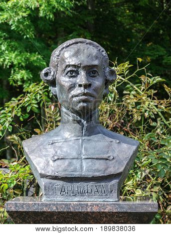 Petrovskoe Pushkinskiye Gory Russia - September 10 2015: Monument to Abram Petrovich Hannibal great-grandfather of the famous Russian poet Alexander Pushkin