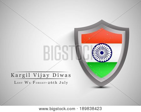 illustration of shield in India flag background with kargil vijay diwas text