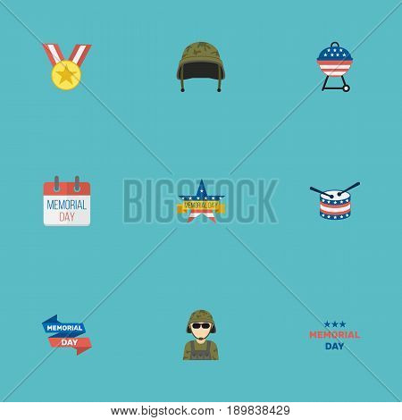 Flat Soldier Helmet, Holiday, Memorial Day And Other Vector Elements. Set Of Memorial Flat Symbols Also Includes Headgear, Man, Banner Objects.
