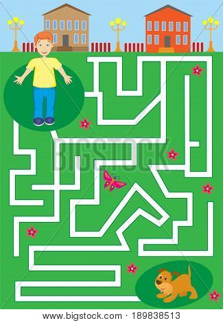 labyrinth with boy and puppy. pet maze. help the boy find his dog. vector illustration. editable layers