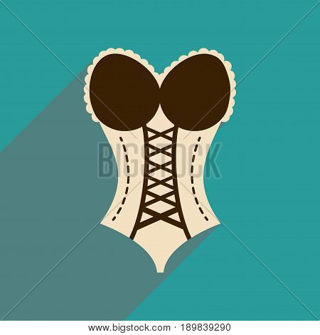 Flat icon with long shadow  Woman corset