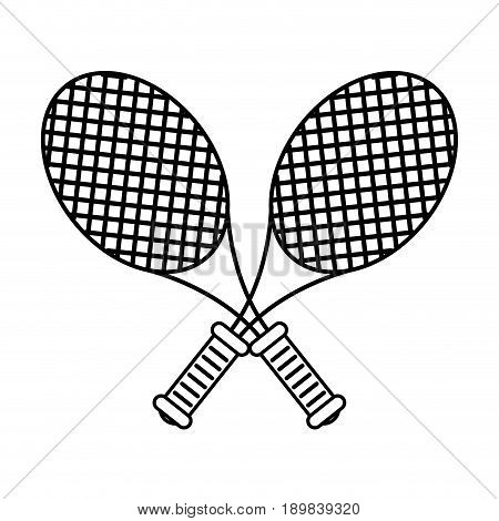crossed racquets tennis related icon image vector illustration design  black line
