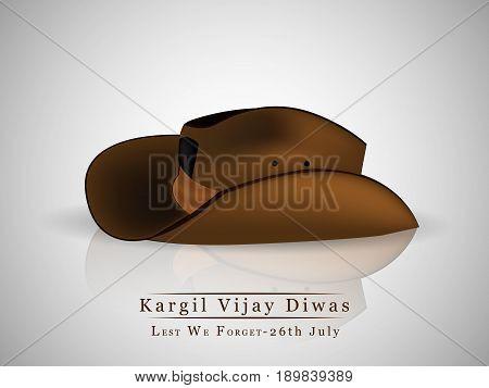 illustration of hat with kargil vijay diwas text