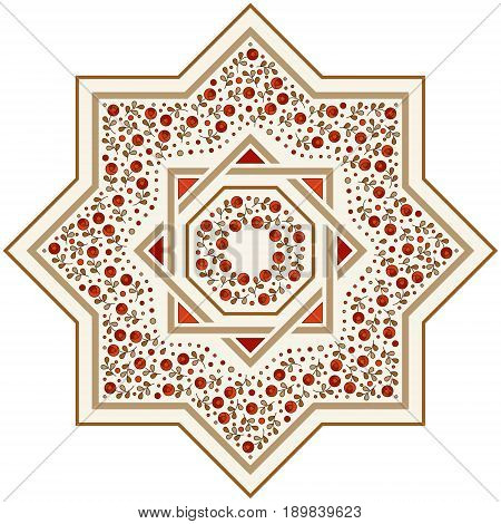 Patterned floor tile. Moroccan pattern design. Eight-ray star. Vector illustration. Moorish mosaic in golden and red. Small flowers in octagon star shape.