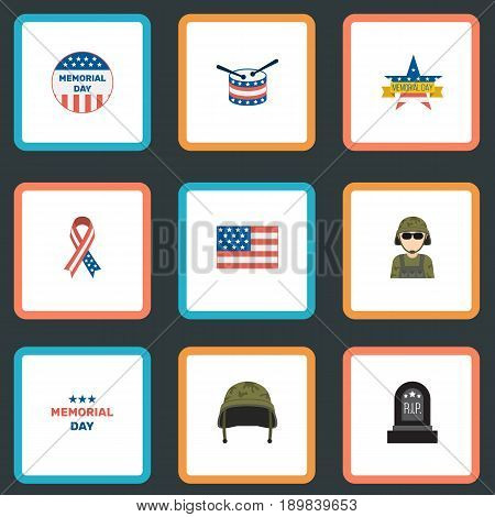 Flat Awareness, Memorial Day, American Banner And Other Vector Elements. Set Of Memorial Flat Symbols Also Includes Headgear, Drum, Banner Objects.