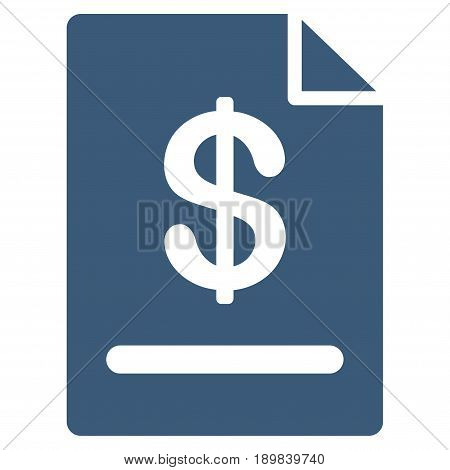 Blue Invoice interface toolbar icon. Vector pictograph style is a flat symbol on diagonal hatch transparent background.