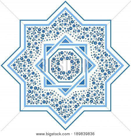 Patterned floor tile. Moroccan pattern design. Eight-ray star. Vector illustration. Moorish mosaic in blue. Small flowers in octagon star shape.