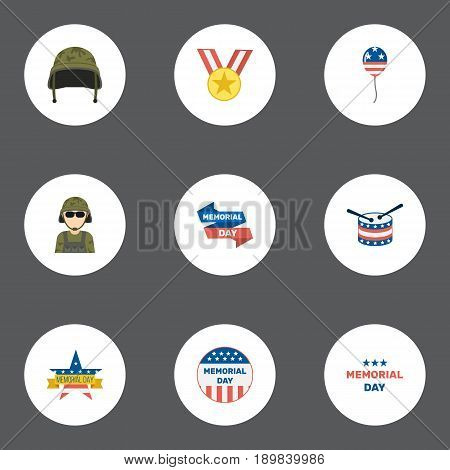 Flat Memorial Day, Soldier Helmet, Usa Badge And Other Vector Elements. Set Of Day Flat Symbols Also Includes Drum, Banner, Memorial Objects.