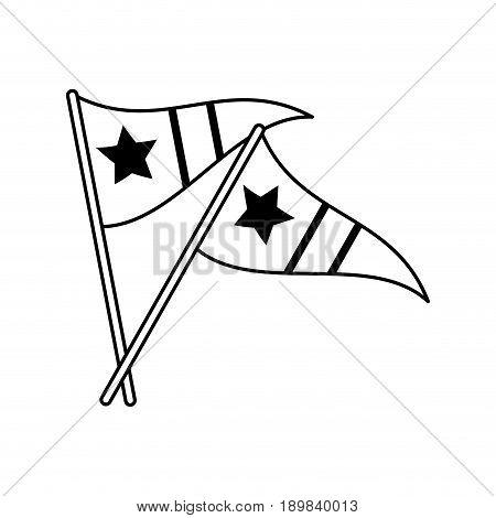 sports celebratory flags icon image vector illustration design  black line