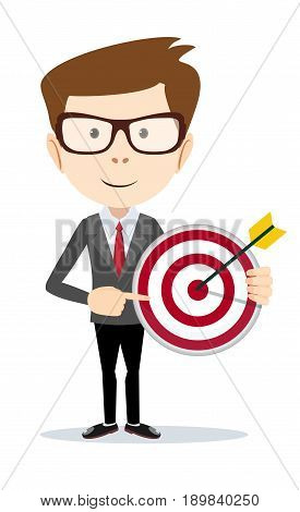 Businessman pointing to the big target. vector illustration