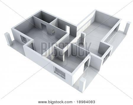Detaillierte 3D-Illustration eines neuen Apartament-Interieurs