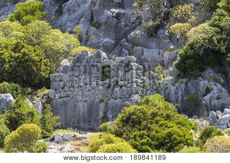 ancient Lycian city as a result of the earthquake city. Near the city of Simena in the vicinity of Kekova Turkey