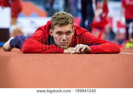 BELGRADE SERBIA - MARCH 3-5 2017: MAN HEPTATHLON MAYER KEVIN EUROPEAN ATHLETICS INDOOR CHAMPIONSHIPS IN BELGRADE SERBIA