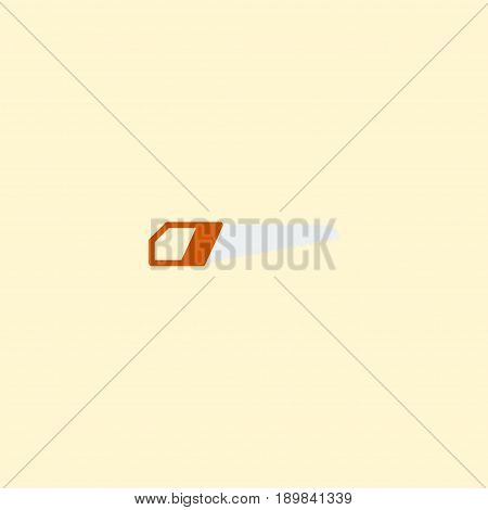 Flat Hand Saw Element. Vector Illustration Of Flat Hacksaw Isolated On Clean Background. Can Be Used As Hacksaw, Hand And Saw Symbols.