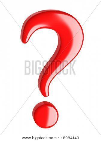 3D rote Fragezeichen auf weißem Hintergrund