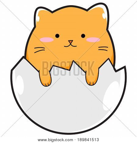 Yellow Cat Egg, A cute Orange Kitten sticking His big Head out of a broken egg shell like some fresh Egg Yolk.