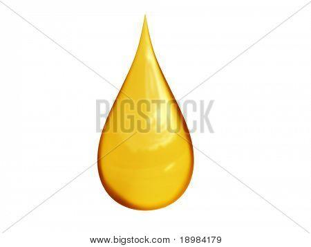 3D detailed illustration of a golden drop of oil