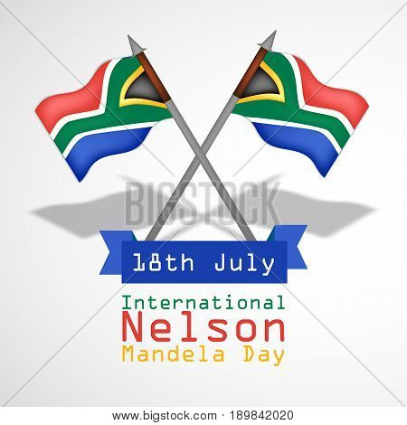 illustration of South Africa flag with 18th July International Nelson Mandela Day Text