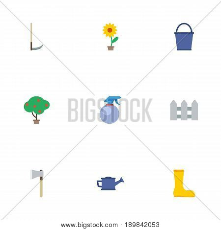 Flat Watering Can, Bucket, Green Wood And Other Vector Elements. Set Of Agriculture Flat Symbols Also Includes Watering, Fence, Gumboots Objects.