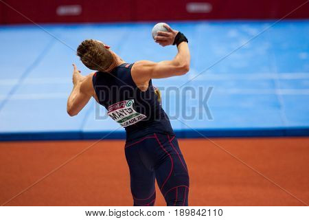 BELGRADE SERBIA - MARCH 3-5 2017: MAN HEPTATHLON SHOT PUT MAYER KEVIN EUROPEAN ATHLETICS INDOOR CHAMPIONSHIPS IN BELGRADE SERBIA