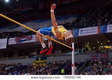BELGRADE SERBIA - MARCH 3-5 2017: MAN HEPTATHLON HIGH JUMP SAMUELSSON FREDRIK EUROPEAN ATHLETICS INDOOR CHAMPIONSHIPS IN BELGRADE SERBIA