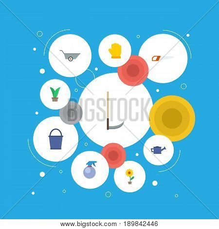 Flat Cutter, Spray Bottle, Latex And Other Vector Elements. Set Of Agriculture Flat Symbols Also Includes Barrow, Atomizer, Gloves Objects.