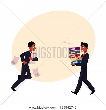Black businessman, manager in stressful business situations, harrying, running, carrying documents, cartoon vector illustration with space for text. Black distressed, anxious businessman
