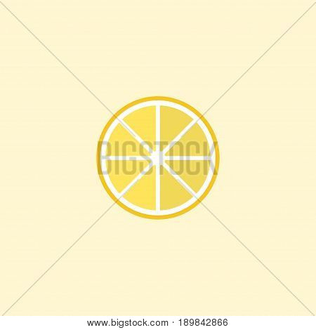 Flat Lemon Element. Vector Illustration Of Flat Lime Isolated On Clean Background. Can Be Used As Lemon, Lime And Slice Symbols.