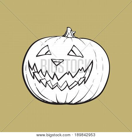 Jack o lantern, ripe pumpkin with carved scary face , traditional Halloween symbol, sketch vector illustration isolated on background. Hand drawn Halloween pumpkin, jack o lantern