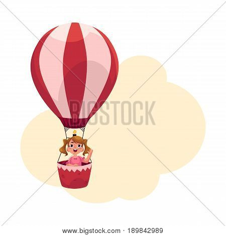 Little girl with ponytails flying in hot air balloon, aircraft, cartoon vector illustration with space for text. Cute, pretty little girl flying up in pink aerostat, hot air balloon