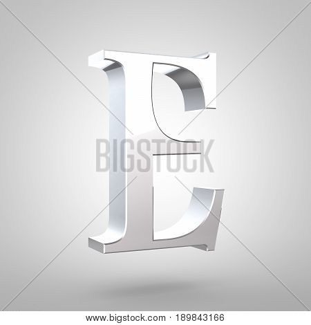 Silver Letter E Uppercase Isolated On White Background