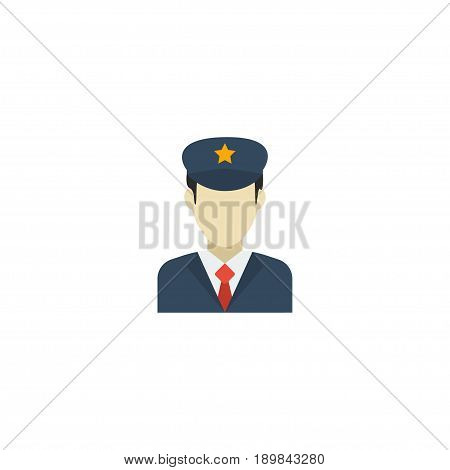 Flat Security Element. Vector Illustration Of Flat Policeman Isolated On Clean Background. Can Be Used As Policeman, Security And Guard Symbols.