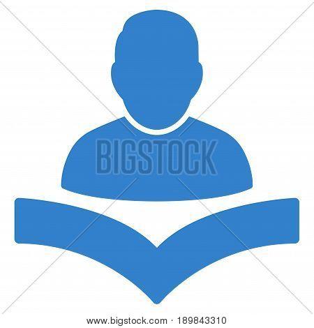 Cobalt Reader Boy interface pictogram. Vector pictogram style is a flat symbol on diagonal hatch transparent background.