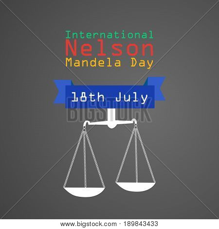 illustration of balance with International Nelson Mandela Day 18th July Text