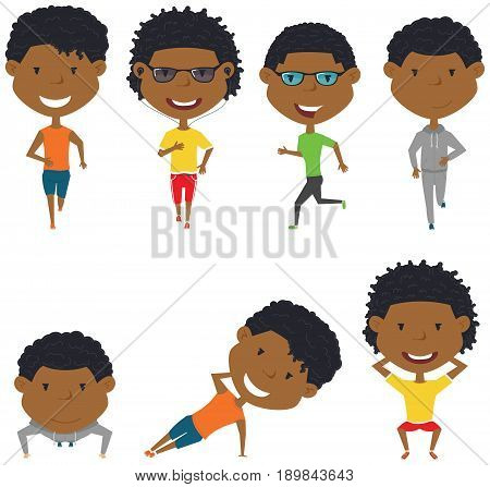 Running African-American boys. Summer male workout exercise: jogging squats side plank and push ups. Fitness sport people vector set. Active healthy training outside.