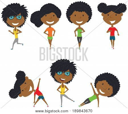 Running African-American girls. Summer female workout exercise: jogging side plank and body exercises. Fitness sport people vector set. Active healthy training outside.