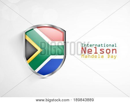 illustration of Shield in South Africa flag background with International Nelson Mandela Day Text